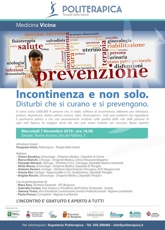 """You are currently viewing """"Incontinenza e non solo: disturbi che si curano e si prevengono"""". Incontro pubblico a Seriate, 7.11.2018"""