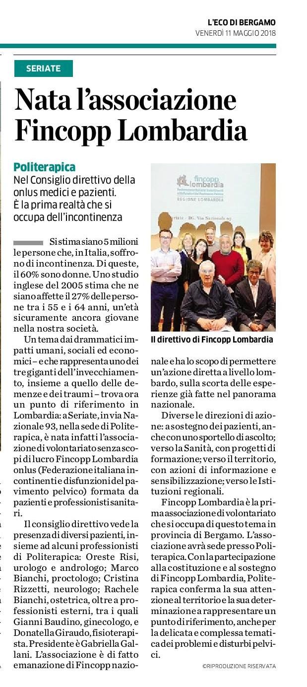 Nasce FINCOPP Lombardia Onlus: la stampa bergamasca annuncia l'iniziativa.