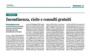 L'Eco di Bergamo sull'impegno in provincia per la XIII Giornata Nazionale su Cure e Prevenzione Incontinenza.