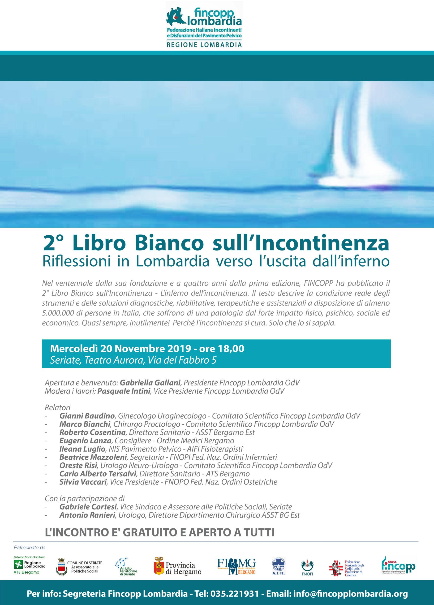 Il 2° Libro Bianco sull'Incontinenza convegno a Seriate